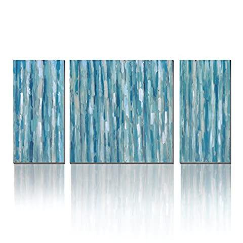 WESIATOR 3-Part Blue Stripe Abstract Modern Prints on Canvas Artwork Wall Art for Any Room Scheme, Ready to Hang!