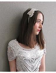 Weiß Perle Silber mit Kopfschmuck Brautschmuck Great Gatsby Flapper Y95Stil der Zwanzigerjahre