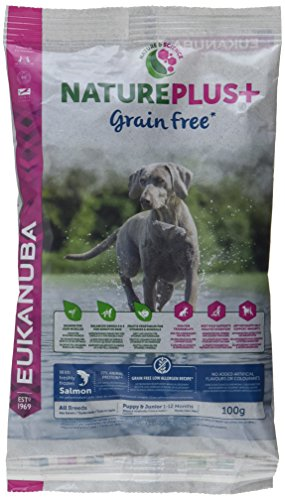 Eukanuba NaturePlus+ Grain Free Welpenfutter für Alle Rassen – Getreidefreies Trockenfutter für Welpen im Alter von 1-12 Monaten in der Geschmacksrichtung Lachs – 1 x 100g Beutel