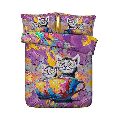 zug Kids 3 Pieces Cute Animal Jungen Mädchen Bettwäsche mit Reißverschluss Trösterdecke mit 2 Kissen Shams Heimtextilien gelb Kätzchen Katzen drucken ()
