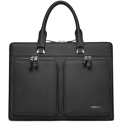 BOSTANTEN Leder Herren Aktentasche Laptoptasche Umhängetaschen Henkeltasche Businesstaschen Männer Schultertaschen Schwarz
