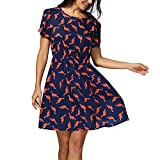 Women Dresses Casual Summer Short Sleeve Dinosaur Print Swing Mini Dress Plus Size Short Dress Ladies Girls Loose Beach Sundress for Teen Girls Party Cocktail Dress