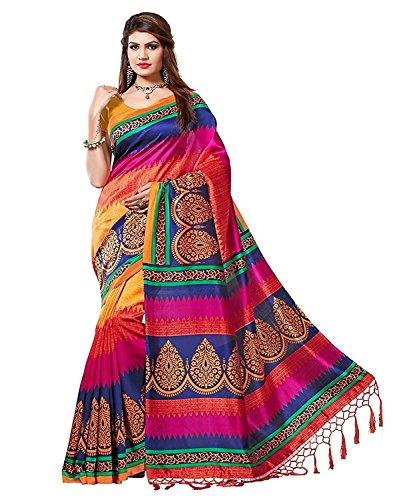 Tagline Women's Cotton Saree (Tag10005_Multicolor)