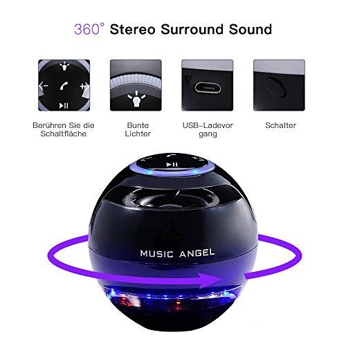 MUSIC ANGEL 360 Grad Lautsprecher mit Magnetschwebe mit Bluetooth 4.0 Multifarben LED kabellos, schwarz - 3
