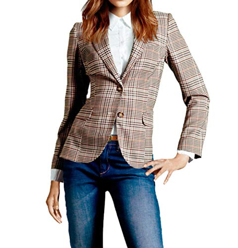 Simple-Fashion Frühling und Herbst Anzug Mäntel Damen Mode Gitter Slim Tops Outerwear Bequeme Oberteile für Business Büro Freizeit Langarm Coat Jacke Oberbekleidung