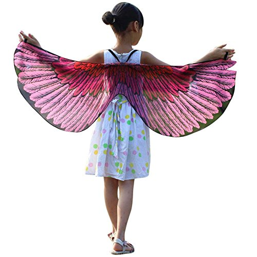 POPLY karnevalsdiscount Kind Kinder Jungen Mädchen Faschingskostüme Karneval Kostüm schmetterlingsflügel Kimono Flügel Schal Cape Tuch Pashmina Kostüm Zubehör Butterfly Wing Cape 118 * 48CM