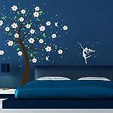 Wandtattoo Baum Kirschblüten Feen Elfen Fee Elfe Punkte Baumdeko M1164b