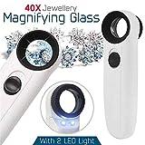 OOFAYWFD 40X Vergrößerungslupe Glas Juwelier Auge Schmuck Lupe Schleife Mit 2 LED-Licht -