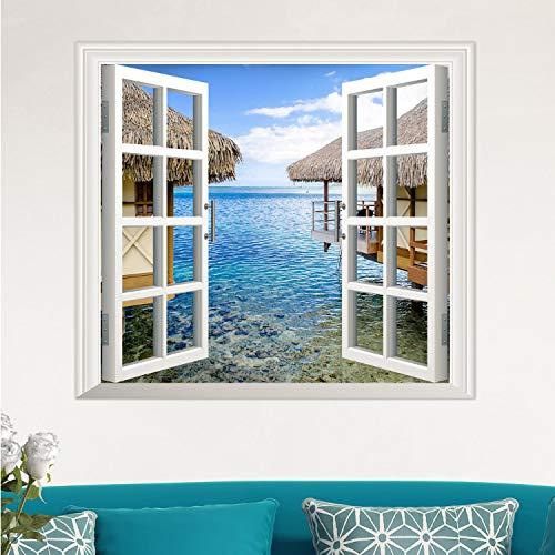 libby-nice Abnehmbare Strand Meer 3D Fenster Landschaft Wandaufkleber Ausgangsdekor Aufkleber Wandbild Wasserdichte Kunst Wand Papier Poster