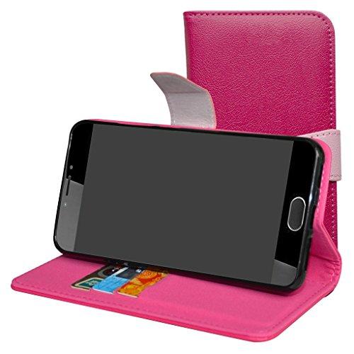 Mama Mouth Liquid Z6 Plus Hülle, Brieftasche Schutzhülle Case Hülle mit Kartenfächer und Standfunktion für Acer Liquid Z6 Plus Android 6.0 Smartphone,Pink