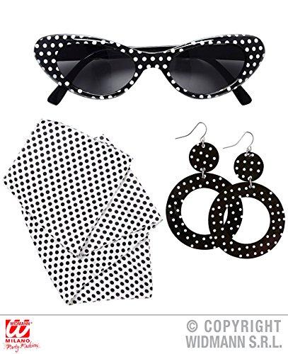 3 Teile SET - 50er JAHRE LADY - ( Brille, Ohrringe & Halstuch ), Schlager Rockn Roll Twist pink Ladies Brillen Sonnenbrillen (Pink Lady Halloween Kostüm)