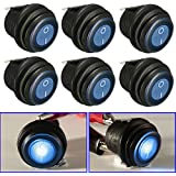 Audew 6 x 12VDC 3-Pin LED Lumineux On / Off SPST Interrupteur à Bascule Étanche Pour Voiture Van Bateau Bleu