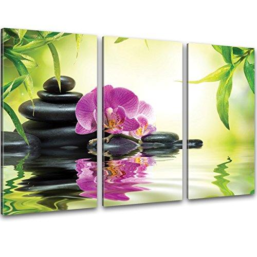 Zen Orchidee & Bambus Bilder auf Leinwand Buddhismus Kunstdruck XXL 120x80cm 3-Teile - fertig gerahmt