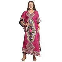 RADANYA Women Beach Caftan Kaftan Lounge Wear Hippy Boho Maxi Kimono Sleeve Long Dress - Pink