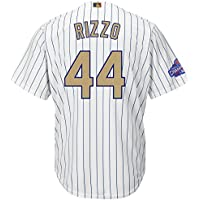 Majestic Anthony Rizzo #44 Chicago Cubs Cool Base MLB Jersey Gold /w Champs Patch