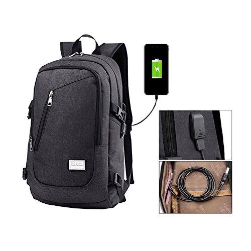 Fastar, zaino per computer portatile con porta USB di ricarica, leggero e resistente, Black