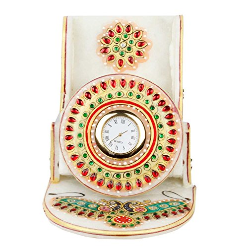 Special Dealz Items For Home Decoration New Year Gift Kundan Meenakari Marble Mobile Stand with Clock 112
