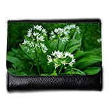 Portemonnaie Geldbörse Brieftasche // M00290123 Bärlauch Blume Pflanze Weiß // Medium Size Wallet