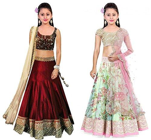 Super Deal Kids Girl\'s Wear Green Net Benglory Silk Unstitched Free Size Combo Pack Lehenga Choli (Indian Clothing Ghagra Choli 403-404)