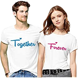 Hangout Hub Couple Tshirts Together Forever Printed White Color Men M Women S Valentine Gift Matching Tees for Men Women (Set of 2)