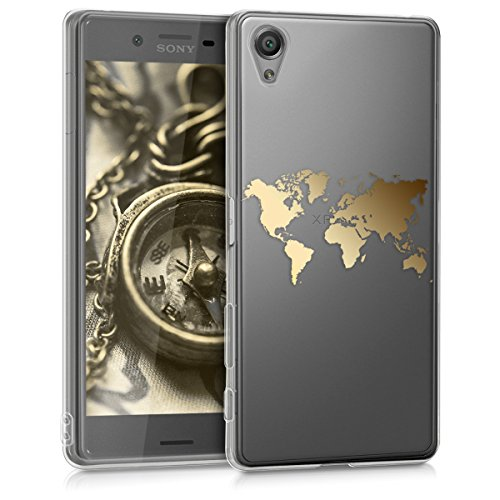 kwmobile Sony Xperia X Hülle - Handyhülle für Sony Xperia X - Handy Case in Travel Umriss Design Gold Transparent