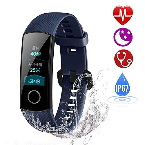Huawei Honor Band 4 Fitness Armband Uhr mit Pulsmesser Wasserdicht IP67 Fitness Tracker Aktivitätstracker Pulsuhren Bluetooth Smart Armbanduhr ür iPhone Android Handymonitor (Blue)