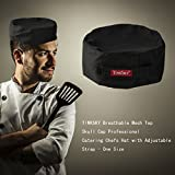 TINKSKY Breathable Mesh Chefs Cap Professional Catering Waiter Hat With Adjustable Strap - One Size (Black)