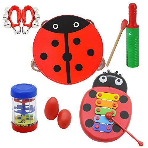 Kalaok Musikspielzeug Schlaginstrumente Rhythmus-Kit für Kinder Kinder Kleinkinder, darunter niedliches Tamburin + Guiro aus Holz + Glockenspiel aus Cartoon + Regenstick + Handbells + Eierform Maracas (Kleinkind, Home|, Niedlich)