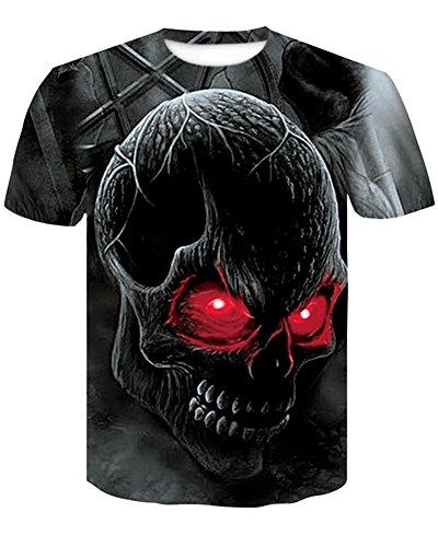 Unisex 3D Patrón Calavera O-Cuello Impreso Casual Manga Corta Camisetas Top Tees Camiseta Impresa, Hombre/Mujer Verano Fresco Tees Cick to Select 8 Style Medium
