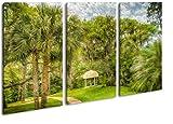 Pavillon in bezaubernder Landschaft in Florida Effekt: Zeichnung Format: 3-teilig 120x80 als Leinwandbild, Motiv fertig gerahmt auf Echtholzrahmen, Hochwertiger Digitaldruck mit Rahmen, Kein Poster oder Plakat