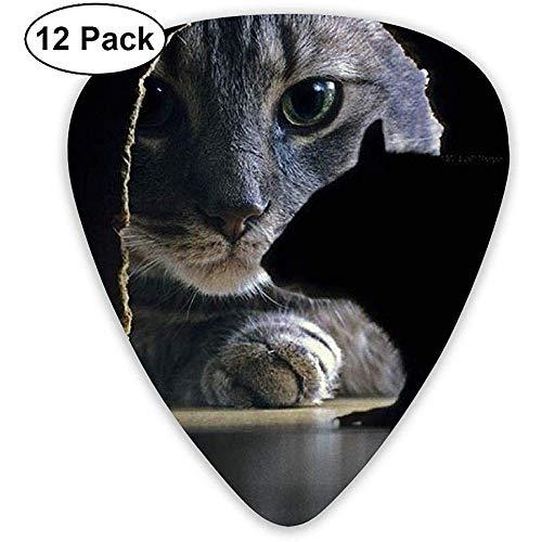 Fantastische seltsame coole Katze fängt Mäuse Plektrum 12-Pack 0,46/0,96/0,71 mm für elektrische Akustik- und Folk-Gitarre -