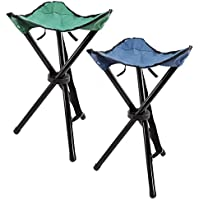COM-FOUR 2x foldable tripod stool in blue and green with convenient carrying bag