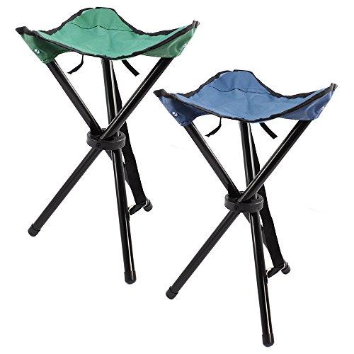 com-four® 2 Dreibein-Klapphocker mit praktischer Transporttasche, Camping-Stuhl klappbar und kompakt -