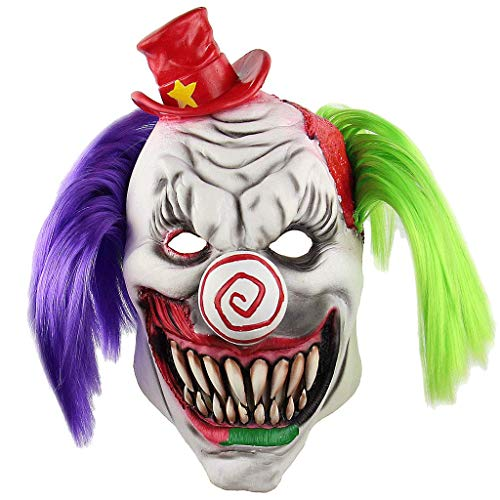Ellyeall Bloody Butcher's Halloween Mask Böser Mörder Kostüm Für Erwachsene Horrific Demon Cosplay Crazy Clown Gruselige Ghost Ghoul Maske Mit - Mörder Clown Kostüm Männer