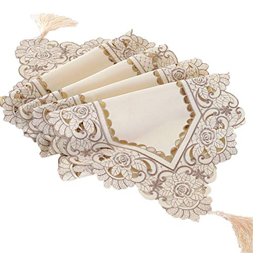 Chemin de table Drapeaux de table triangulaires, nappe longue en dentelle pour la famille Family Mat Birthday Wedding Supplies Coffee Mat Hotel Literie (Couleur : Beige, taille : 40×193cm)