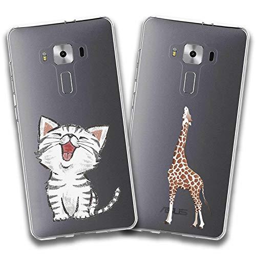 crisant 2 X ASUS ZenFone 3 Deluxe ZS570KL Hülle Weich TPU Silikon Schutzhülle Handyhülle Backcover Für ASUS ZenFone 3 Deluxe ZS570KL (5.7 Zoll) (Katze und Giraffe)