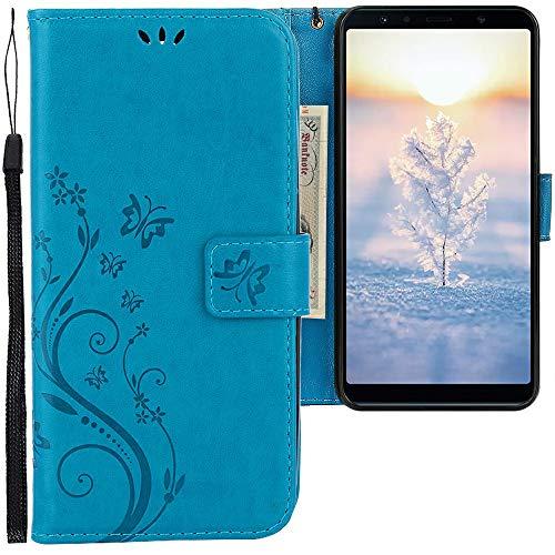 CLM-Tech Cover Compatibile con Samsung Galaxy A7 (2018), Sintetica Pelle Custodia, Portafoglio con Funzione Supporto e Slots, Farfalle Blu