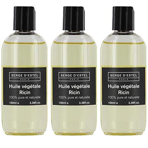 Huile de Ricin Vierge x3 100ml 100% Pure. Aide à la Repousse des Cheveux et Barbe. Huile de Soin Favorisant la Croissance Cheveux et Barbe.