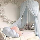 L Y Jungen Mädchen Kinder Prinzessin Baldachin Bett Volant Kinder Zimmer Dekoration Baby Bett Runde Moskitonetz Zelt Vorhänge,Lightblue