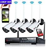 Vigilancia Cámara Set, canavis WiFi Vigilancia Exterior con 4pcs HD 1080P IP CCTV Cámara/36leds de IR Cut, IP66, Super Visión Nocturna, detector de movimiento y acceso remoto de 1TB HDD ya integrado