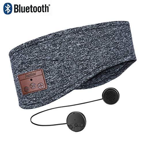 Auriculares de Dormir Bluetooth - Azzker Auriculares para Dormir Lavables, Auriculares de Música, Cómodo y Transpirable para Dormir, Deportes, Viajes en Avión, Yoga, Gris