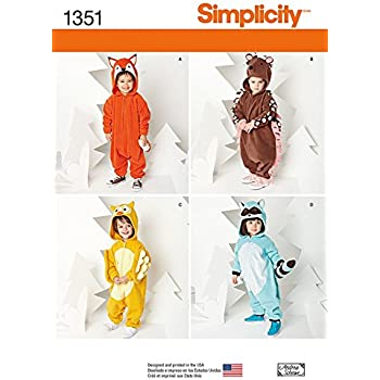 Simplicity Childrens Easy Sewing Pattern 1351 Novelty Animal Onesie ...