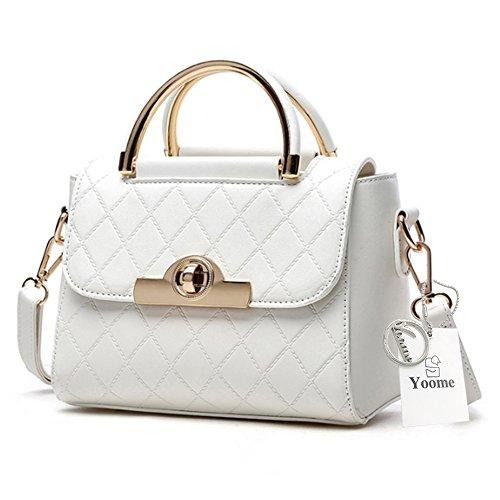 Yoome frizione con le borse di Tote Diaper per le donne Borse eleganti per il portafoglio di borsa delle signore di fascino - Bianco bianca