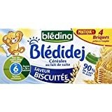Blédina - Blédidej - Lait et céréales, goût biscuité, dès 6 mois - Les 4 briques de 250ml - (pour la quantité...