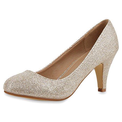 napoli-fashion Damen Pumps High Heels Übergrößen Party Schuhe Metallic Abendschuhe Glitzer Pailletten Lack Absatzschuhe Plateauschuhe Jennika Gold Glitzer