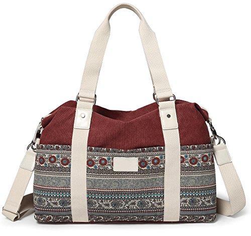 Stoff Handtasche Muster (DCCN Handtaschen Damen Canvas Schultertasche Shopper Tote Bag mit Blumen Muster)