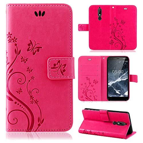 betterfon | Flower Case Handytasche Schutzhülle Blumen Klapptasche Handyhülle Handy Schale für Nokia 5.1 Pink