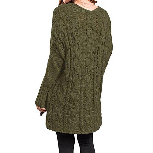 Pull en maille dames surdimensionné Pulls - Hibote Femme Pulls en maille à manches longues Automne et Hiver Pull Tricot Vêtements d'extérieur Blanc Vert Rose S-XXL Vert