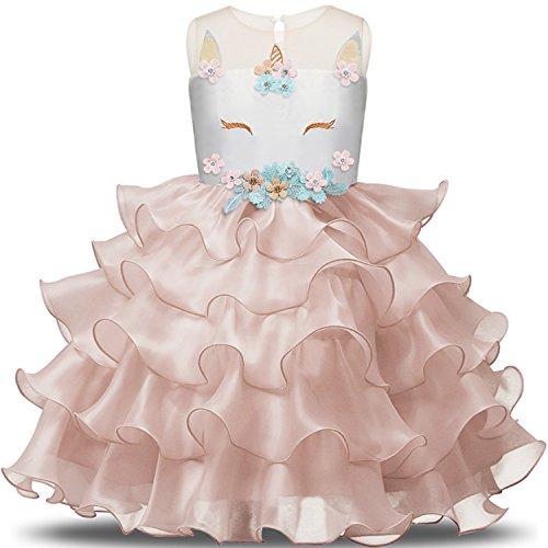 NNJXD Mädchen Einhorn Blume Rüschen Cosplay Party Hochzeit Prinzessin Kleid Größe(140) 6-7 Jahre Rosa