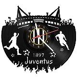 Gravure ligne Disque Horloge Juventus–100% amour SG–upcycling Horloge murale design en vinyle fabriqué en Allemagne